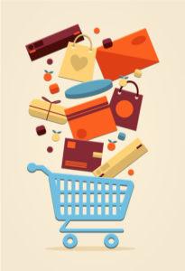 Volle shopping cart winkelen