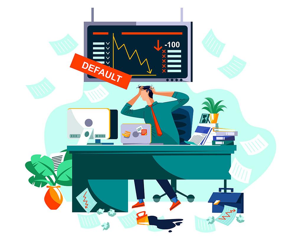 Man in paniek bij dalende beurskoersen